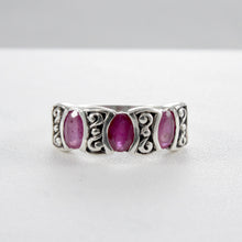 Cargar imagen en el visor de la galería, Three stone ring with genuine amethyst set in 925 sterling silver, beautiful ring for women - SUVARNASILVERCO.,LTD