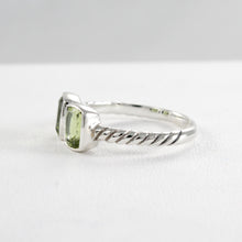 Load image into Gallery viewer, Cable ring with double square peridot set in 925 sterling silver, beautiful ring for women - SUVARNASILVERCO.,LTD