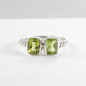 Cable ring with double square peridot set in 925 sterling silver, beautiful ring for women - SUVARNASILVERCO.,LTD