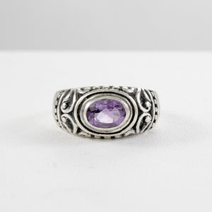 Filigree design with genaral amethyst ring set in 925 sterling silver, beautiful ring for women - SUVARNASILVERCO.,LTD