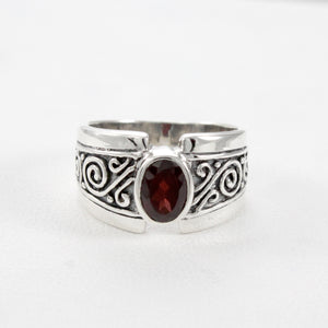 filigree bali design with premium genuine ruby ring set in 925 sterling silver, beautiful ring for women