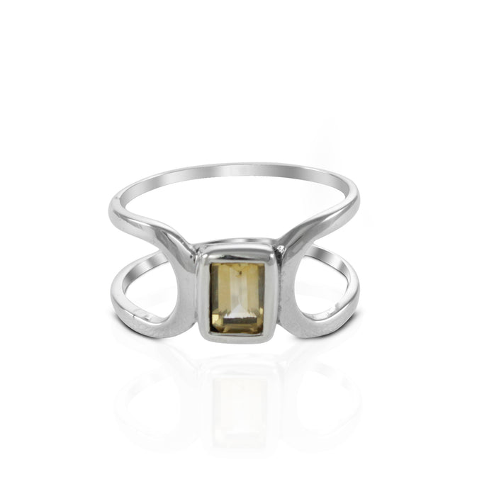 Solitaire ring with genuine citrine ring set in 925 sterling silver, beautiful ring for women - SUVARNASILVERCO.,LTD