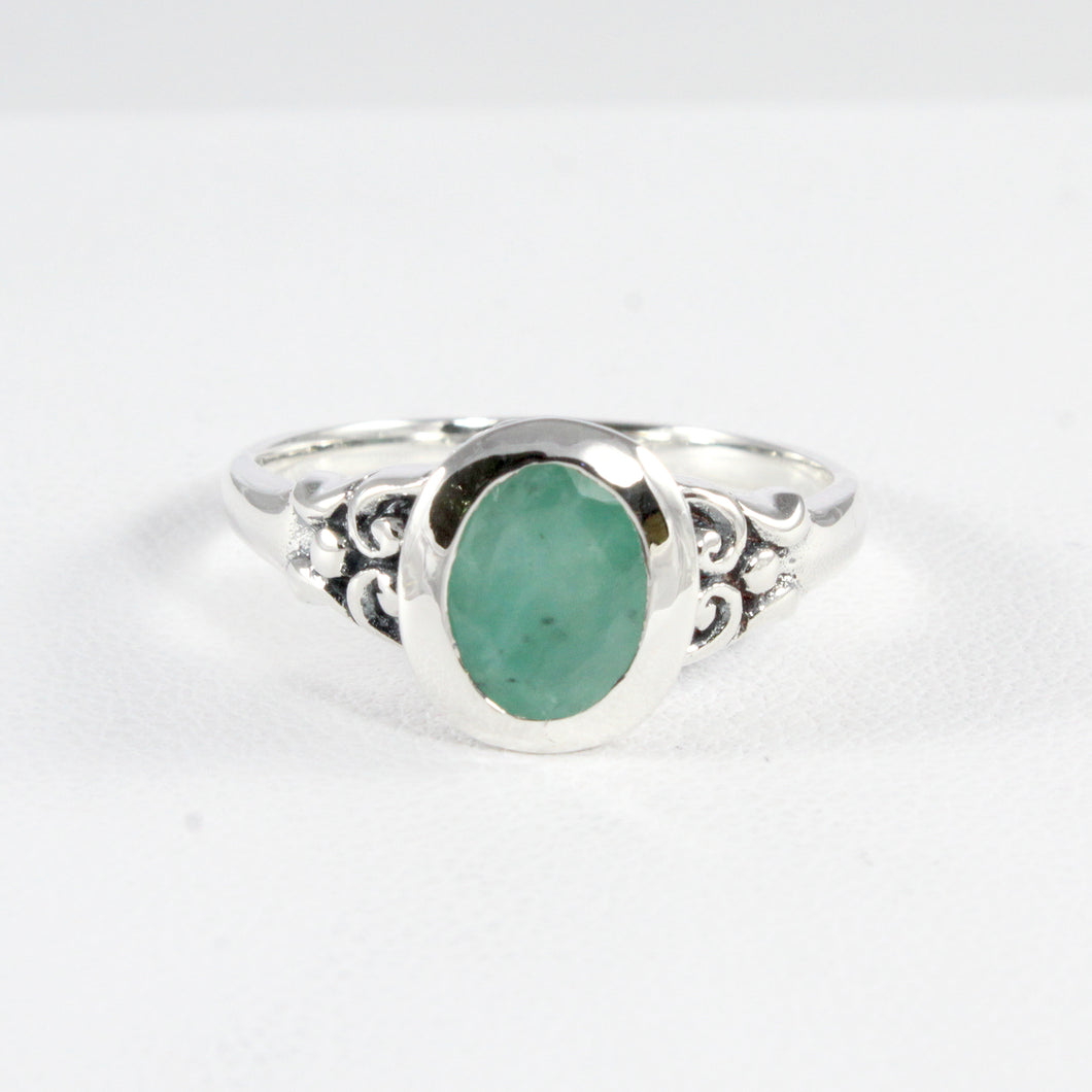 Filigree ring with genuine emerald ring set in 925 sterling silver, beautiful ring for women - SUVARNASILVERCO.,LTD