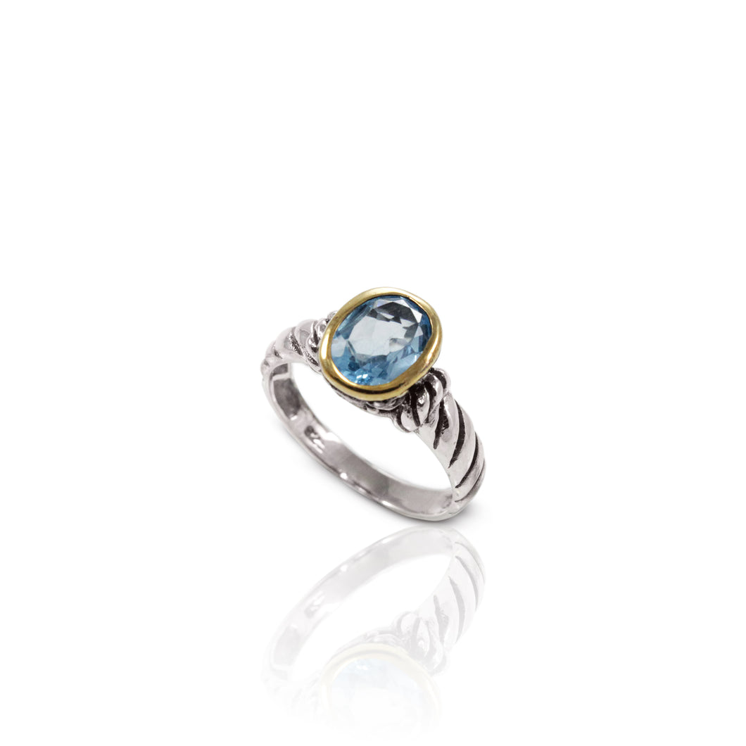 Cable design with genaral blue topaz 18K yellow gold plated ring set in 925 sterling silver, beautiful ring for women