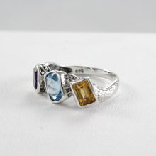 Load image into Gallery viewer, Three-stone gemstone ring set in 925 sterling silver, beautiful ring for women - SUVARNASILVERCO.,LTD