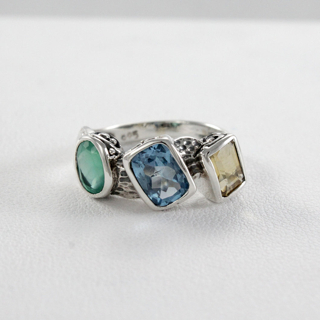 Three-stone gemstone ring set in 925 sterling silver, beautiful ring for women - SUVARNASILVERCO.,LTD