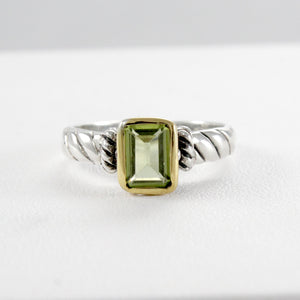 Cable ring with natural peridot with yellow gold plated set in 925 sterling silver, beautiful ring for women - SUVARNASILVERCO.,LTD