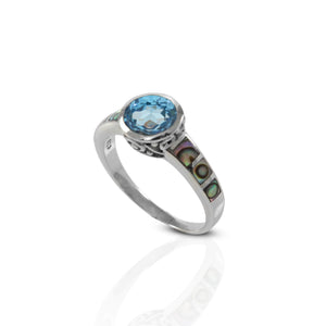 Design From The Sea 925 Sterling Silver Ring with Genuine Gems Stone and Abalone Shell - SUVARNASILVERCO.,LTD