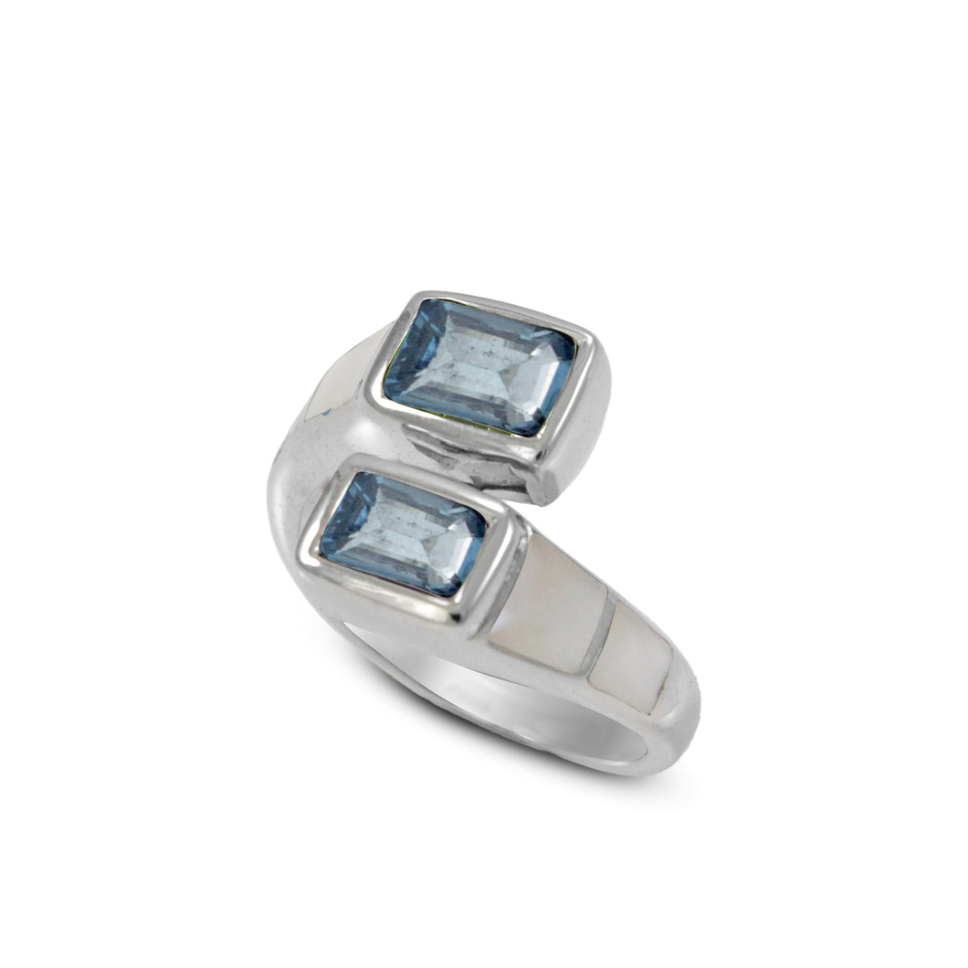 Friendship bypass ring with genuine blue topaz and natural white shell set in 925 sterling silver, beautiful ring for women