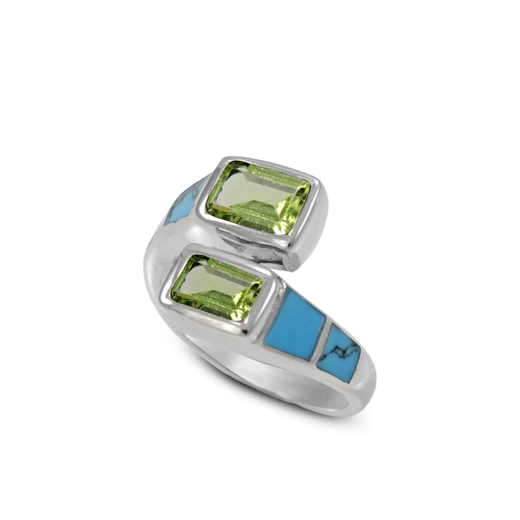 Friendship bypass ring with genuine peridot and natural touquis set in 925 sterling silver, beautiful ring for women