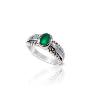 cable band ring with genuine green agate and natural mother of pearl set in 925 sterling silver