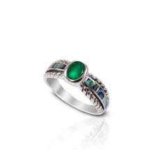 Load image into Gallery viewer, cable band ring with genuine green agate and natural mother of pearl set in 925 sterling silver