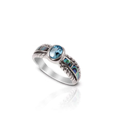 Load image into Gallery viewer, cable band ring with genuine blue topaz and natural mother of pearl set in 925 sterling silver
