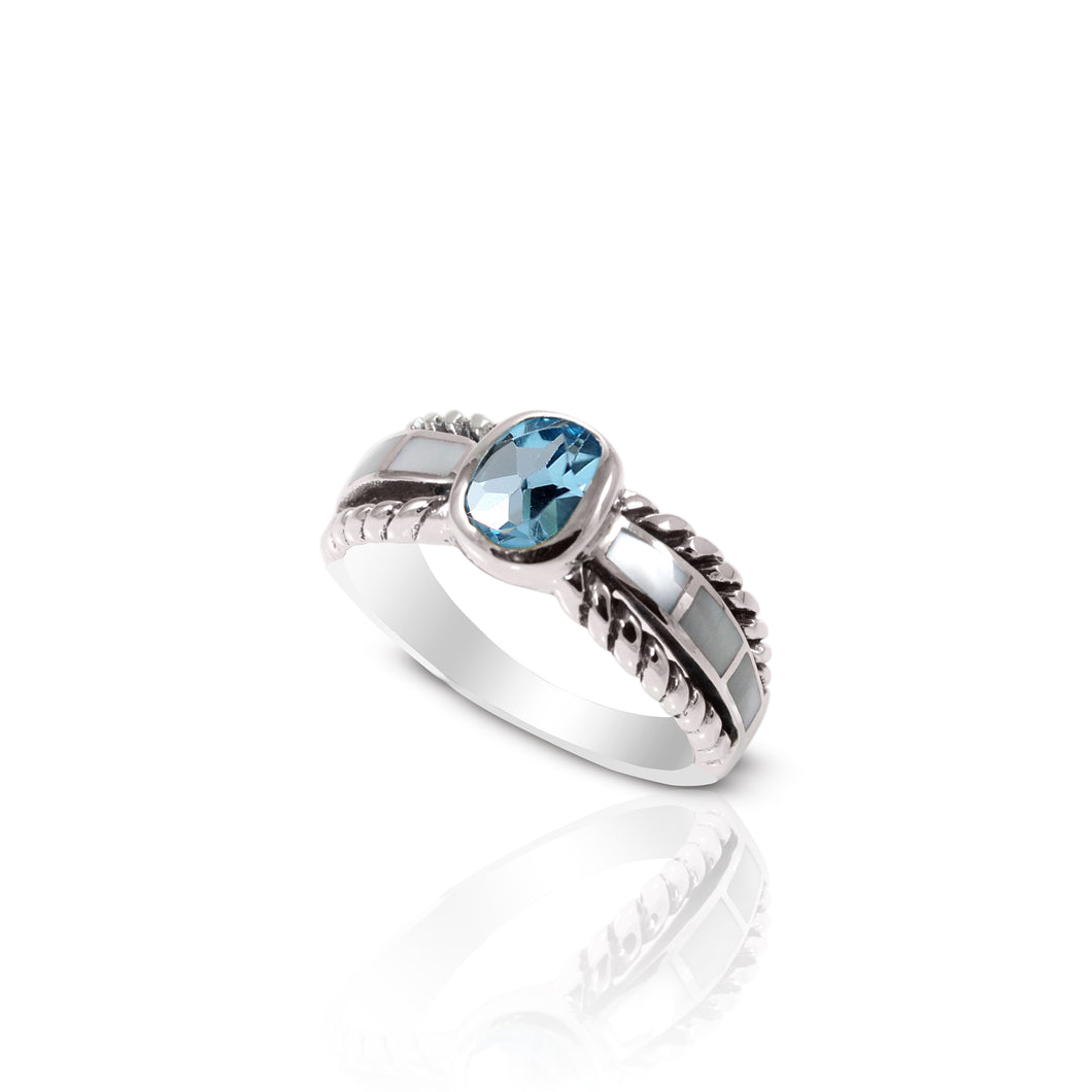 cable band ring with genuine blue topaz and natural mother of pearl set in 925 sterling silver