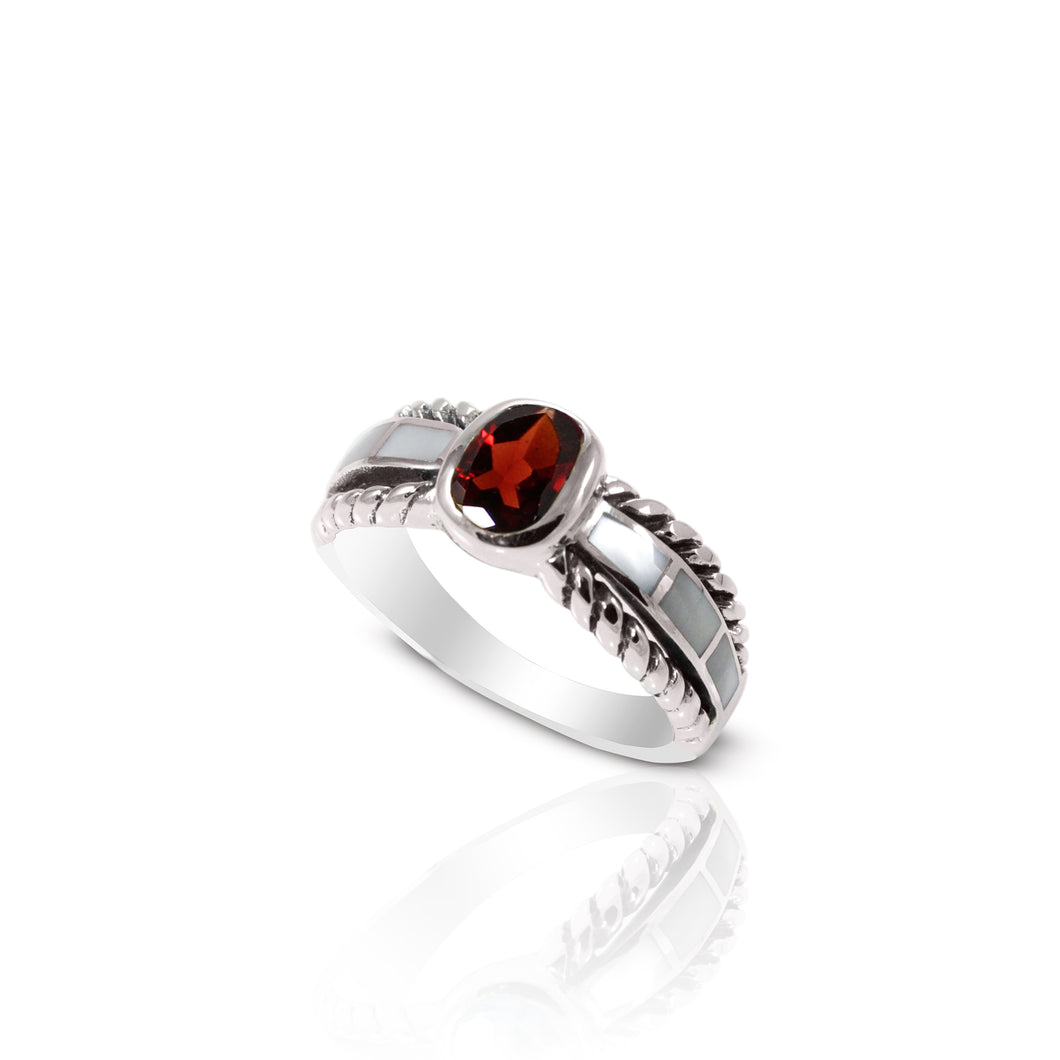 cable band ring with genuine red garnet and natural mother of pearl set in 925 sterling silver