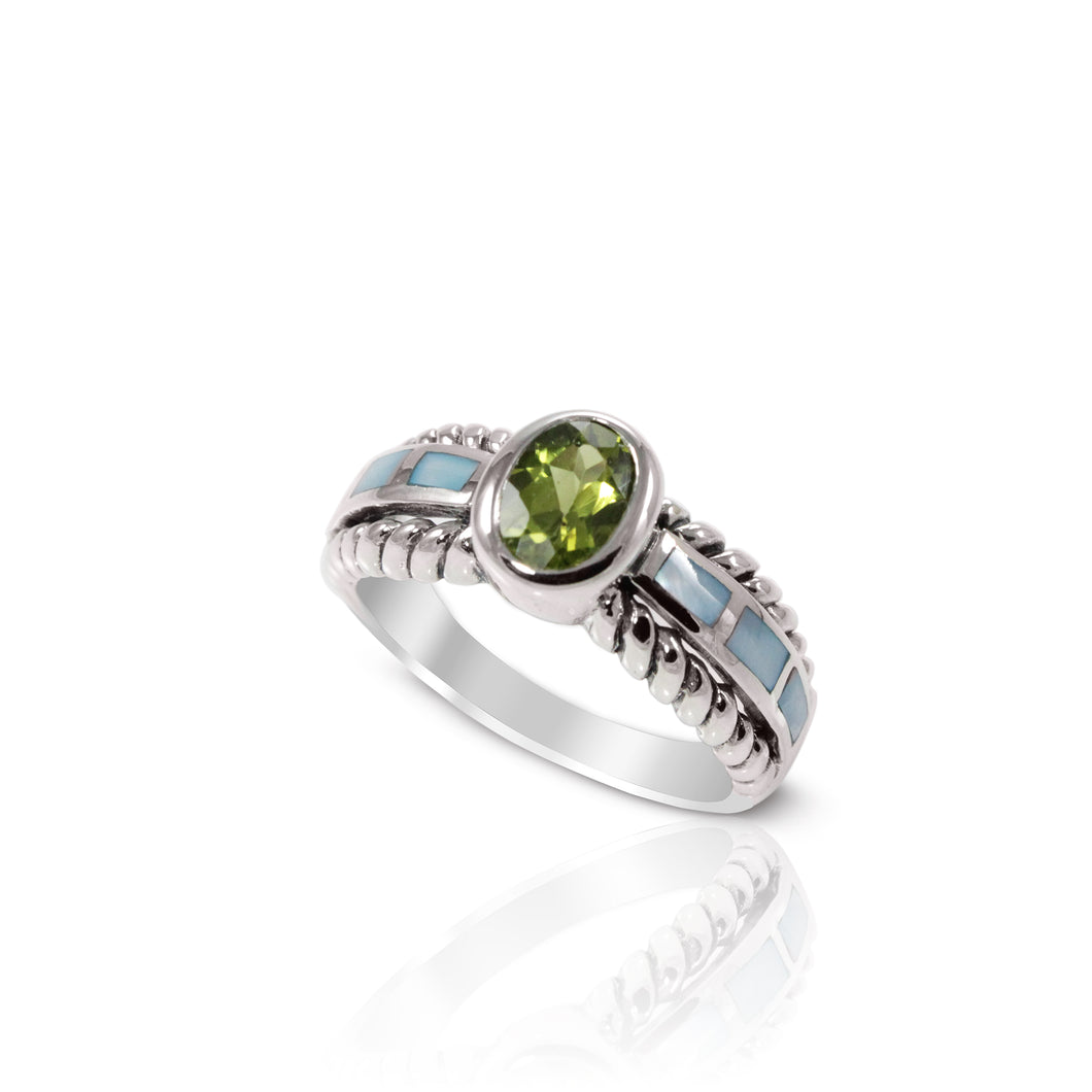cable band ring with genuine peridot and color shell set in 925 sterling silver