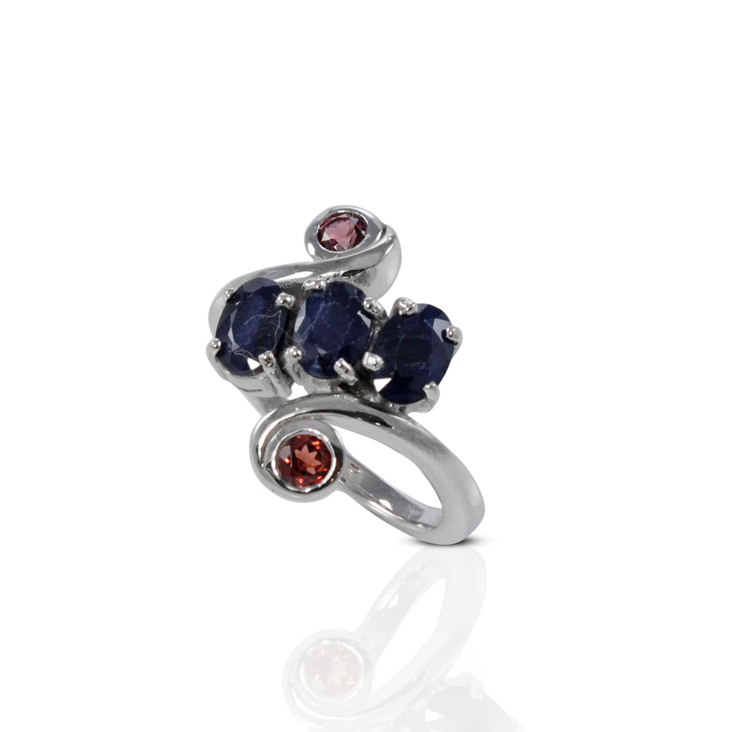 Friendship ring with genuine sapphire and red garnet set in 925 sterling silver, beautiful ring for women - SUVARNASILVERCO.,LTD