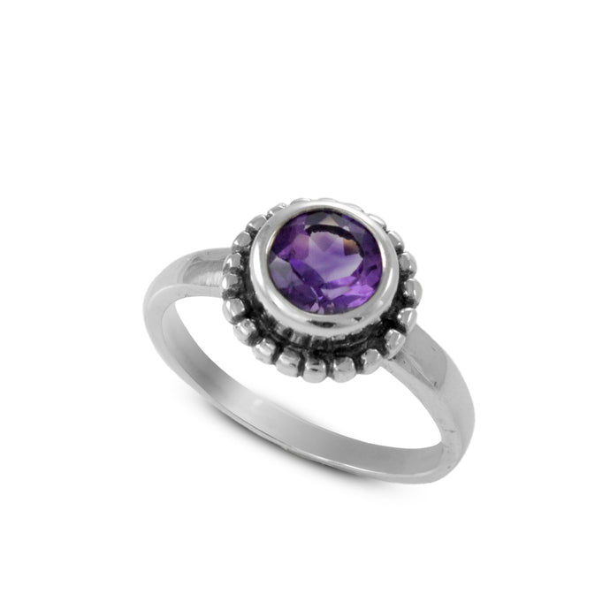 Solitaire design with genaral amethyst ring set in 925 sterling silver, beautiful ring for women - SUVARNASILVERCO.,LTD