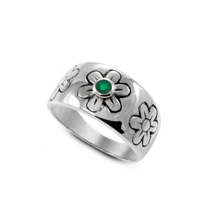 flower ring with genuine green agate set in 925 sterling silver, beautiful ring for women - SUVARNASILVERCO.,LTD
