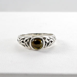Celtic Knot ring with genuine green agate set in 925 Sterling silver, beautiful ring for woman - SUVARNASILVERCO.,LTD