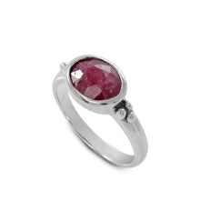 Load image into Gallery viewer, Solitaire ring with genuine ruby ring set in 925 sterling silver, beautiful ring for women - SUVARNASILVERCO.,LTD