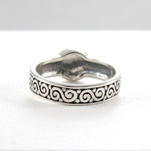 Bali carving ring with natural abalone set in 925 sterling silver - SUVARNASILVERCO.,LTD