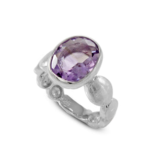 Solitaire ring with genuine amethyst ring set in 925 sterling silver, beautiful ring for women - SUVARNASILVERCO.,LTD