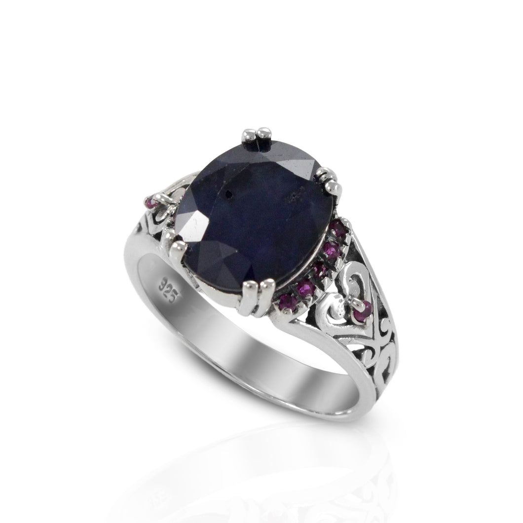Filigree design with genuine sapphire and pink zirconia accent set in 925 sterling silver, beautiful ring for women - SUVARNASILVERCO.,LTD