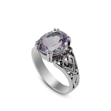Load image into Gallery viewer, Beautiful solitaire ring with genuine oval amethyst set in 925 sterling silver with red cz accent - SUVARNASILVERCO.,LTD