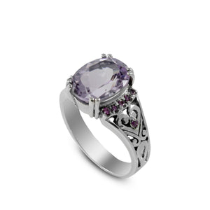 Beautiful solitaire ring with genuine oval amethyst set in 925 sterling silver with red cz accent - SUVARNASILVERCO.,LTD