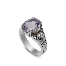 画像をギャラリービューアに読み込む, Beautiful solitaire ring with genuine oval amethyst set in 925 sterling silver with red cz accent - SUVARNASILVERCO.,LTD