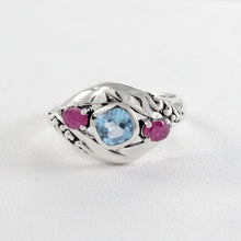 Load image into Gallery viewer, Friendship ring with genuine blue topaz and ruby set in 925 sterling silver, beautiful ring for women - SUVARNASILVERCO.,LTD