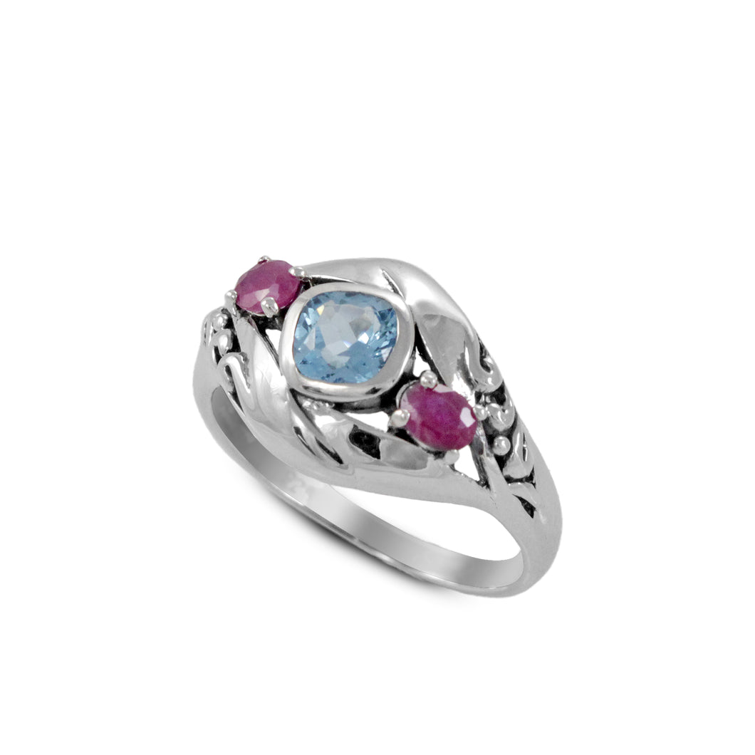 Friendship ring with genuine blue topaz and ruby set in 925 sterling silver, beautiful ring for women - SUVARNASILVERCO.,LTD