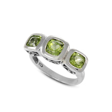 Load image into Gallery viewer, Three stone ring with genuine peridot set in 925 sterling silver, beautiful ring for women
