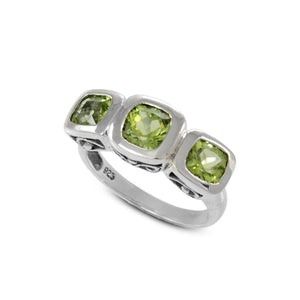 Three stone ring with genuine peridot set in 925 sterling silver, beautiful ring for women