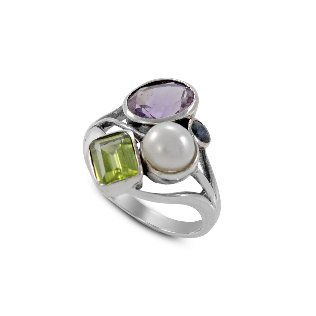 Friendship ring with genuine gemstone and natural freshwater pearl ring set in 925 sterling silver, beautiful ring for women - SUVARNASILVERCO.,LTD