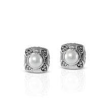 Load image into Gallery viewer, Bali Stud Earring 925 Sterling Silver with Fresh Water Pearl