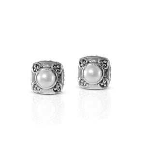 Bali Stud Earring 925 Sterling Silver with Fresh Water Pearl