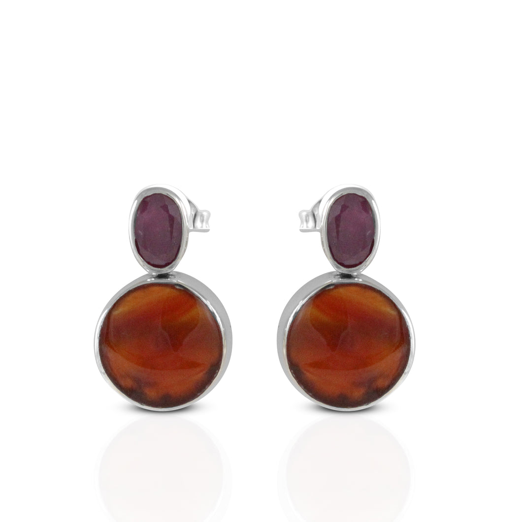 925 Sterling Silver Ear Stud with Genuine ruby and carnelian - SUVARNASILVERCO.,LTD