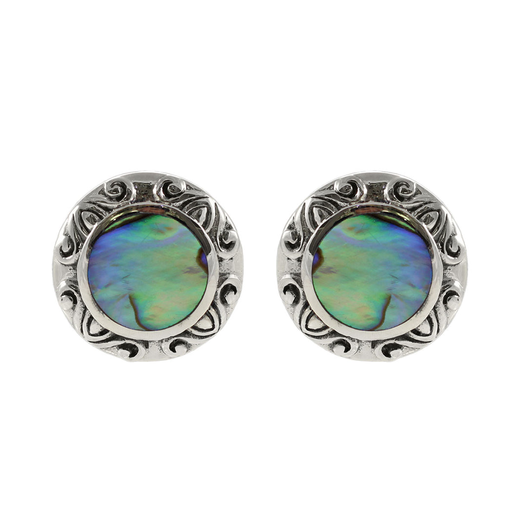 Round Stud Earring Bali Design 925 Sterling Silver with Abalone