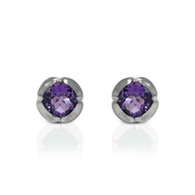 Load image into Gallery viewer, 925 Sterling Silver Stud Earring with Genuine Gemstone
