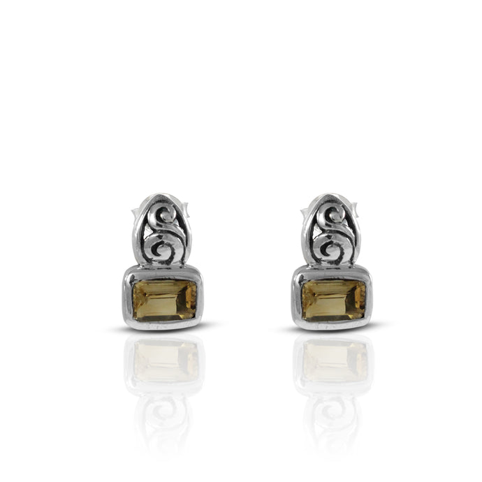 filigree design stud earring with genural citrine set in 925 sterling silver - SUVARNASILVERCO.,LTD
