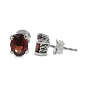 925 Sterling Silver Stud Earring with Genuine Gemstone Set in Prong Setting