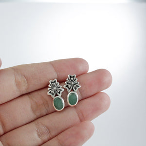 Flowers Stud Earring Design 925 Sterling Silver with Genuine Gemstone and Color Shell