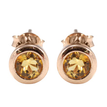 Load image into Gallery viewer, Simple Round - Shape Stud Earring with Genuine Gemstone and Gold Plated