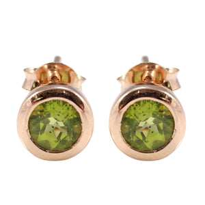 Simple Round - Shape Stud Earring with Genuine Gemstone and Gold Plated