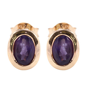 Opal - Shape 925 Sterling Silver Stud Earring with Genuine Gemstone and Gold Plated