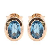 Load image into Gallery viewer, Opal - Shape 925 Sterling Silver Stud Earring with Genuine Gemstone and Gold Plated