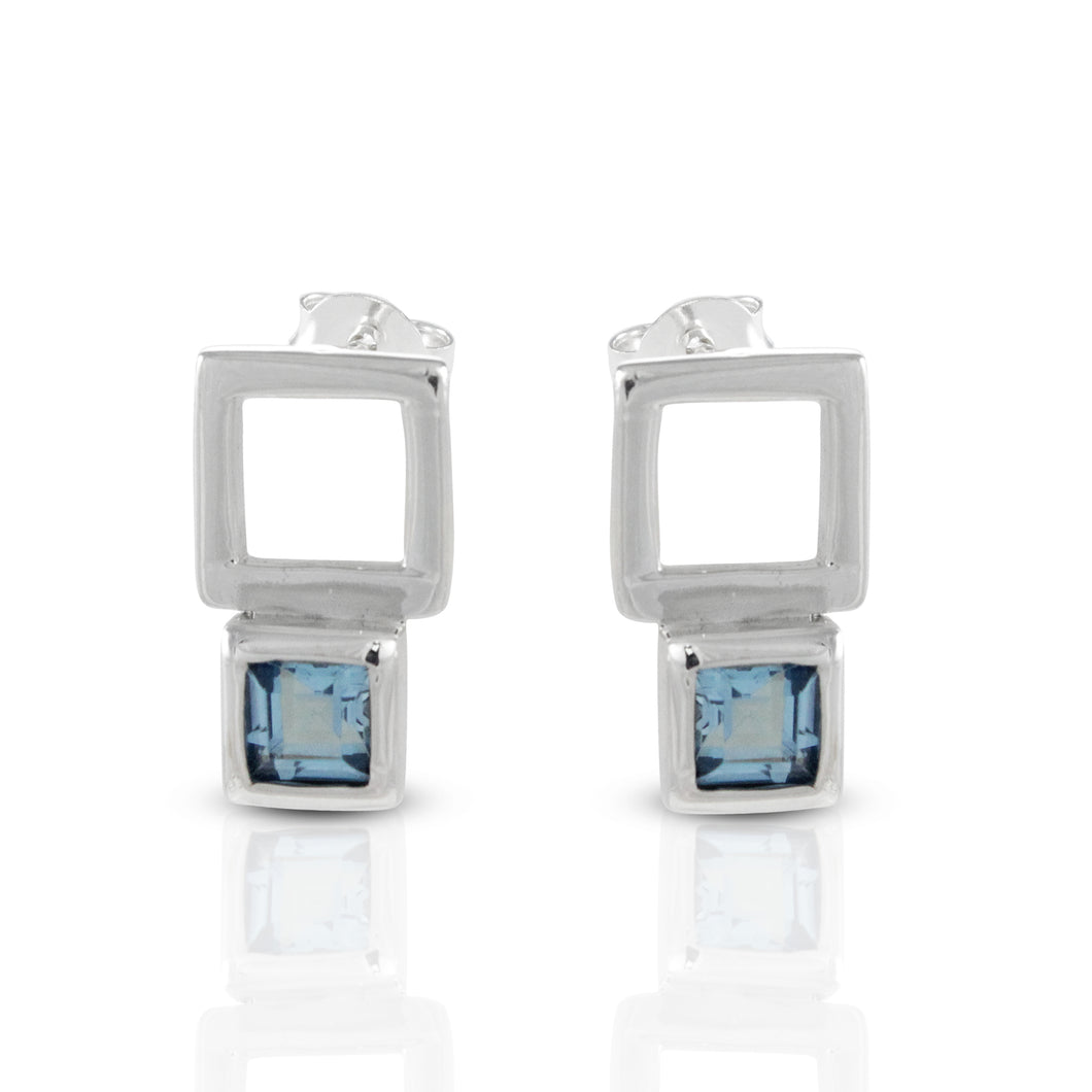 925 Sterling Silver Stud Earring with Genuine Blue Topaz Stone