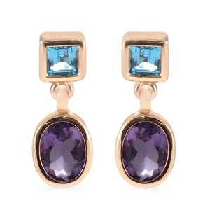 Double Stone 925 Sterling Silver with Genuine Gemstone and Gold Plated